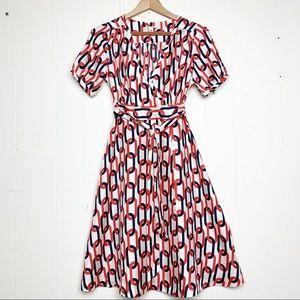 Banana Republic Silk Chain Link Print Wrap Dress